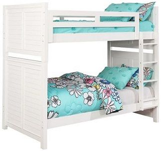 Twin Over Twin Bunk Bed Cottage Style White Finish Discount