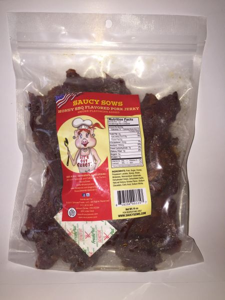 Saucy Sows Honey BBQ Flavored Pork Jerky 16 oz