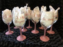 Customized Glitter Wine Glasses