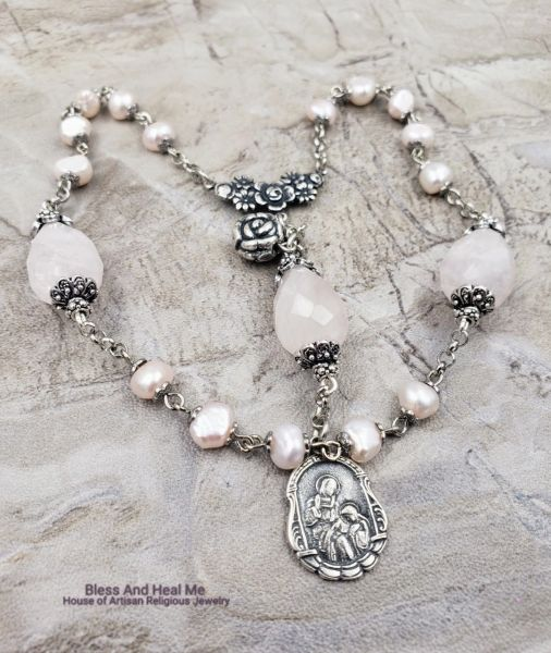 St Anne Devotional Sterling pltd Chaplet Rose Quartz Pink Pearls  grandparents mothers protection, unconditional love,purity,happiness