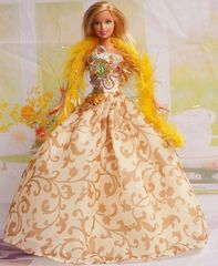 Barbie Dress-Feather Shawl-Barbie Shoes