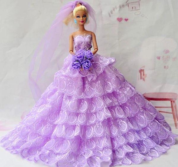 Barbie Wedding Dress Veil Flowers Shoes