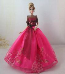 Barbie Gown-Shawl-Belt-Fancy Barbie Shoes