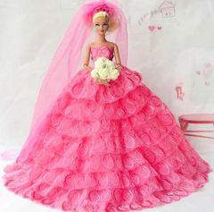 Pink Barbie Wedding Dress-Flowers-Veil-Shoes