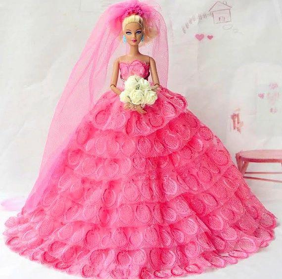 Pink Barbie Wedding Dress Flowers Veil Shoes