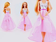 Pink Satin Barbie Dress-Modest Barbie Clothes-Shoes