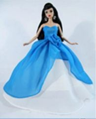 Blue Barbie Ballgown-Barbie Shoes-Purse-Earrings