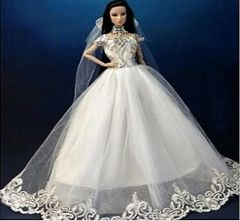 Barbie Wedding Gown-Veil-Gloves-Shoes-Purse-3 Pc Jewelry Set