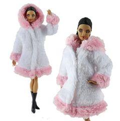 Barbie Fur Coat-With Hood-Modest Barbie Clothes,