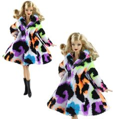 Multi Colored Barbie Fur Coat-Modest Barbie Clothes