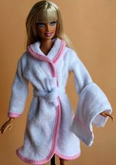 Terrycloth Barbie Bathrobe Set-Belt-Towel-Slippers