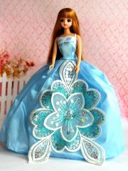 Baby Blue Barbie Gown-Purse-Blue Barbie Shoes-Earrings