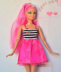 Modest Barbie Clothes-Barbie Dress-Hot Pink Shoes-Earrings
