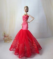 Elegant Barbie gown-Purse-Shoes-3 Pc Jewelry Set