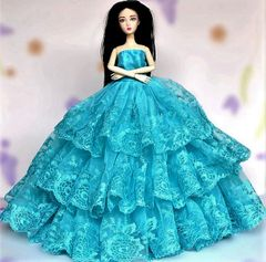Teal Blue Barbie Gown-Shoes