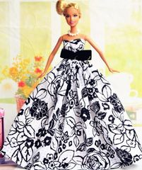Barbie Ballgown-Purse-White Barbie Shoes-Pearl Earrings