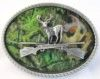 """Camouflage Deer with double riffles oval belt buckle. This buckle is 4"""" x 3""""."""