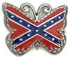 """REBEL FLAG ON BUTTERFLY CUTOUT BELT BUCKLE. This buckle is 3 3/8"""" X 2 1/2""""."""