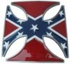 """Confederate Flag on a chopper cross belt buckle. This buckle is 3 1/4"""" x 3 1/4""""."""