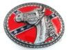 """Horse head with Confederate flag oval belt buckle. This buckle is 4"""" x 3""""."""