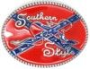 """Confederate or Rebel flag Southern Style with naked lady oval belt buckle. This buckle is 4"""" X 3""""."""
