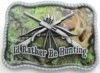 Camouflage Western I'd Rather Be Hunting Belt Buckle