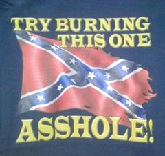 Navy T-Shirt- Try Burning This One Asshole