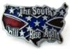 """REBEL BELT BUCKLE CONFEDERATE USA MAP CUT OUT THE SOUTH WILL RISE AGAIN. This buckle is 3 1/2"""" x 2 1/2""""."""