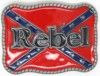 """Rebel confederate flag with rope edge square frame rebel belt buckle. This buckle is 3 3/4"""" X 2 3/4""""."""