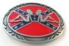 """Rebel Flag/ confederate belt buckle with 2 girls. This buckle is 4"""" x 3""""."""