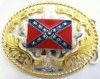 Two Toned Silver/Gold 4x3 Rebel Flag Belt Buckle.