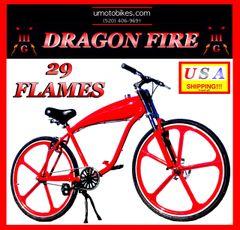 "U-MOTO 29 FLAMES TM 29"" GAS TANK CRUISER BICYCLE FOR 2-STROKE 48CC 66CC 80CC BICYCLE MOTOR KITS"