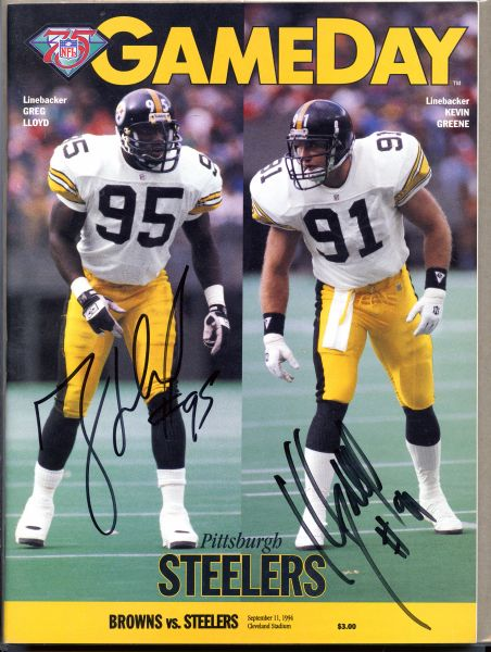 Greg Lloyd & Kevin Greene, Pittsburgh Steelers signed Gameday Program