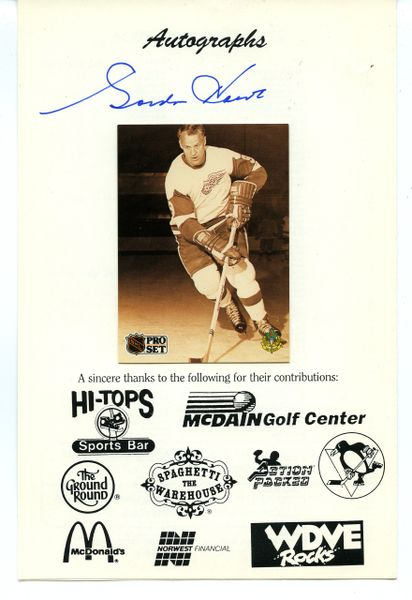 Gordie Howe, Red Wings Whalers - signed Baseball Card Show program - w/card