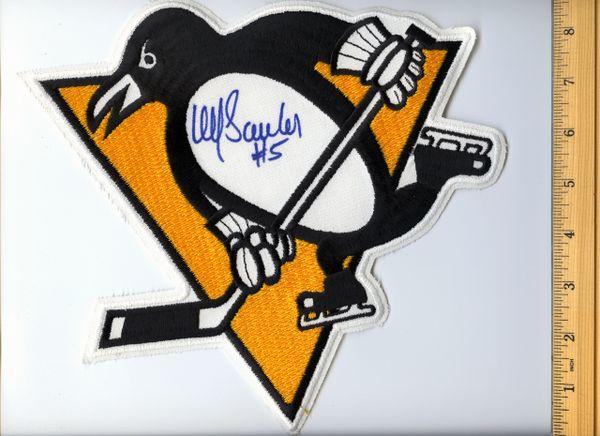 Ulf Samuelsson #5 signed Penguins jersey crest patch