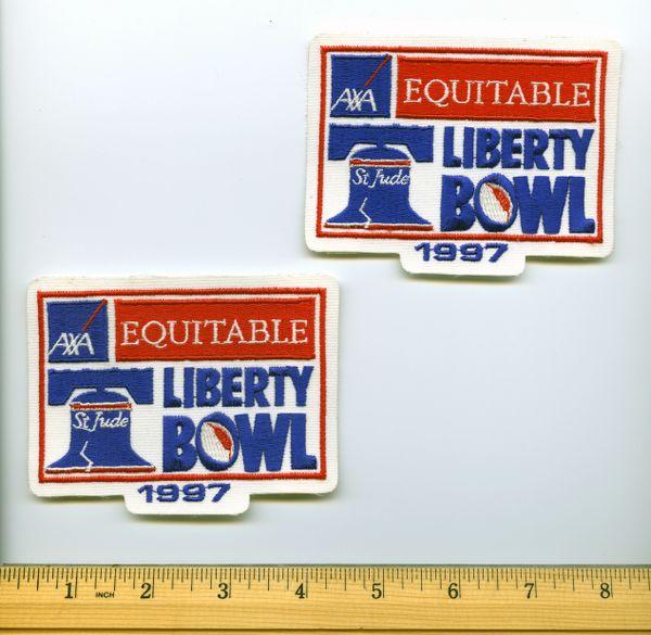 (2) Pitt Panthers football 1997 Liberty Bowl jersey patches, vs. Southern Miss