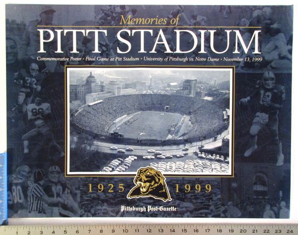 (2) Pitt Panthers football posters -- Pitt Stadium & 20yr. National Champs anniv. poster