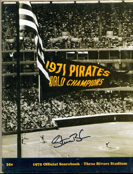 Steve Blass, Pittsburgh Pirates signed 1972 Pirates scorebook
