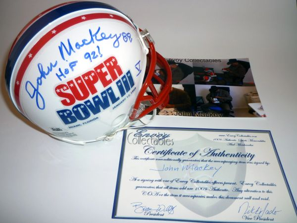BALTIMORE COLTS - JOHN MACKEY SIGNED SUPER BOWL III MINI HELMET