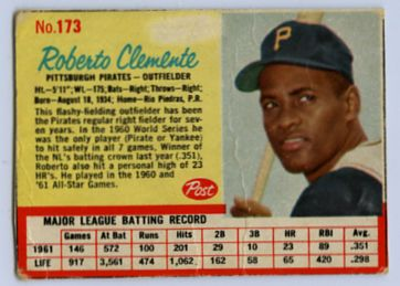 4. 1962 POST CEREAL ROBERTO CLEMENTE CARD