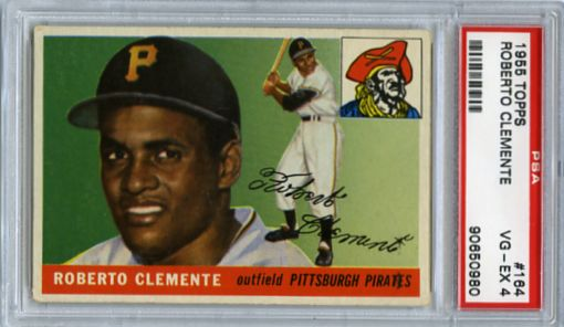 1955 ROBERTO CLEMENTE TOPPS ROOKIE CARD #164, PSA 4