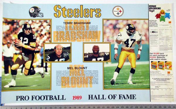 (3) Pittsburgh Steelers HOF posters - Bradshaw & Blount - Harris & Lambert - Ham