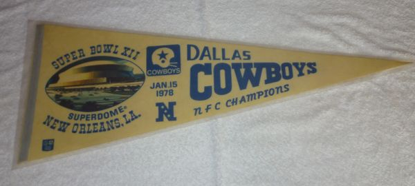 1978 Dallas Cowboys Super Bowl XII (12) full-size pennant