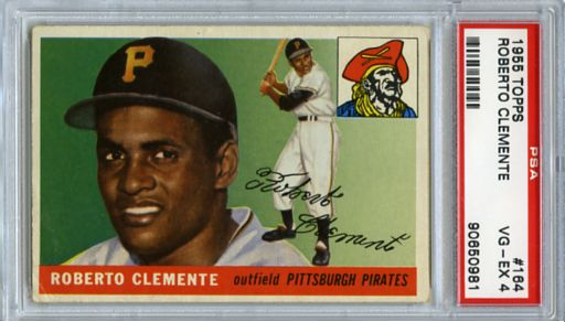 1955 TOPPS ROBERTO CLEMENTE ROOKIE CARD #164, PSA 4