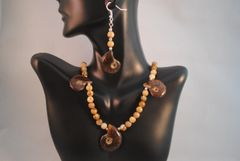 Ammonite and Picture Jasper and Earrings