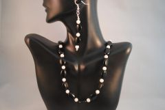 White Quartz and Black Onyx Neclace and Earrings