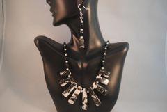 Zebra Jasper Fan and Onyx Necklace and Earrings