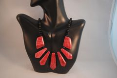 Rhodochrosite and Onyx Fan Neaklace