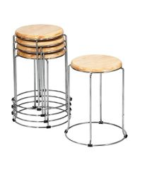 MBTC Forio Wooden Kitchen Cafeteria Stool Home Office Stool (Set of 5)