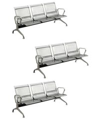 MBTC Three seater waiting chair in stainless steel ( set of 3 )